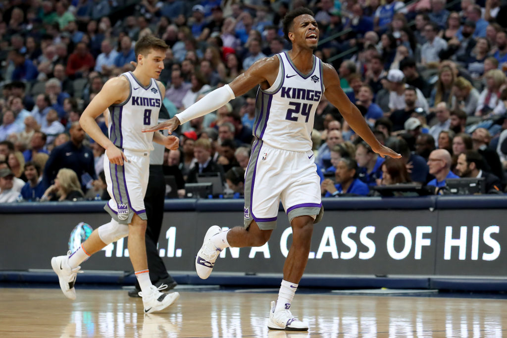 Buddy Hield of the Sacramento Kings celebrates a shot.