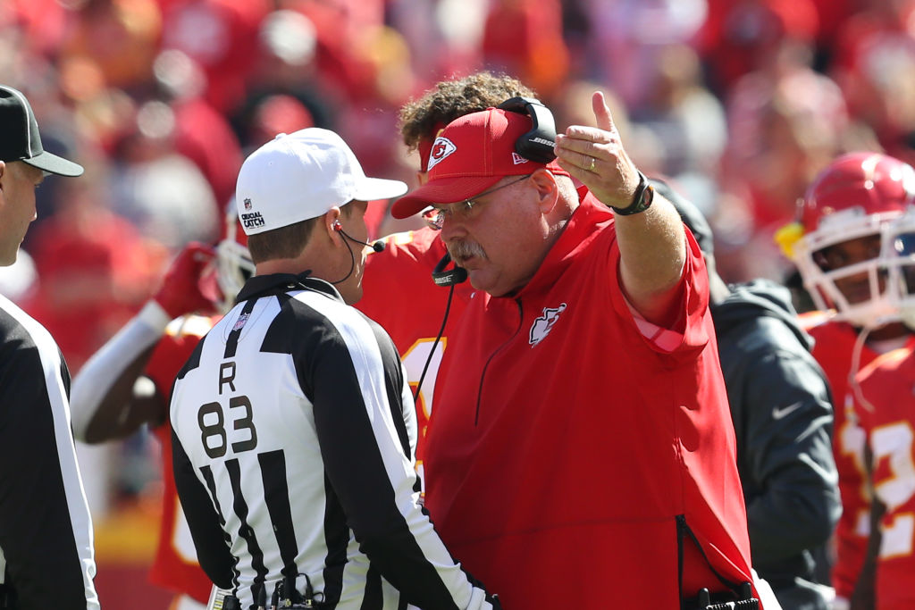 Kansas City Chiefs head coach Andy Reid argues with NFL referee Shawn Hochuli