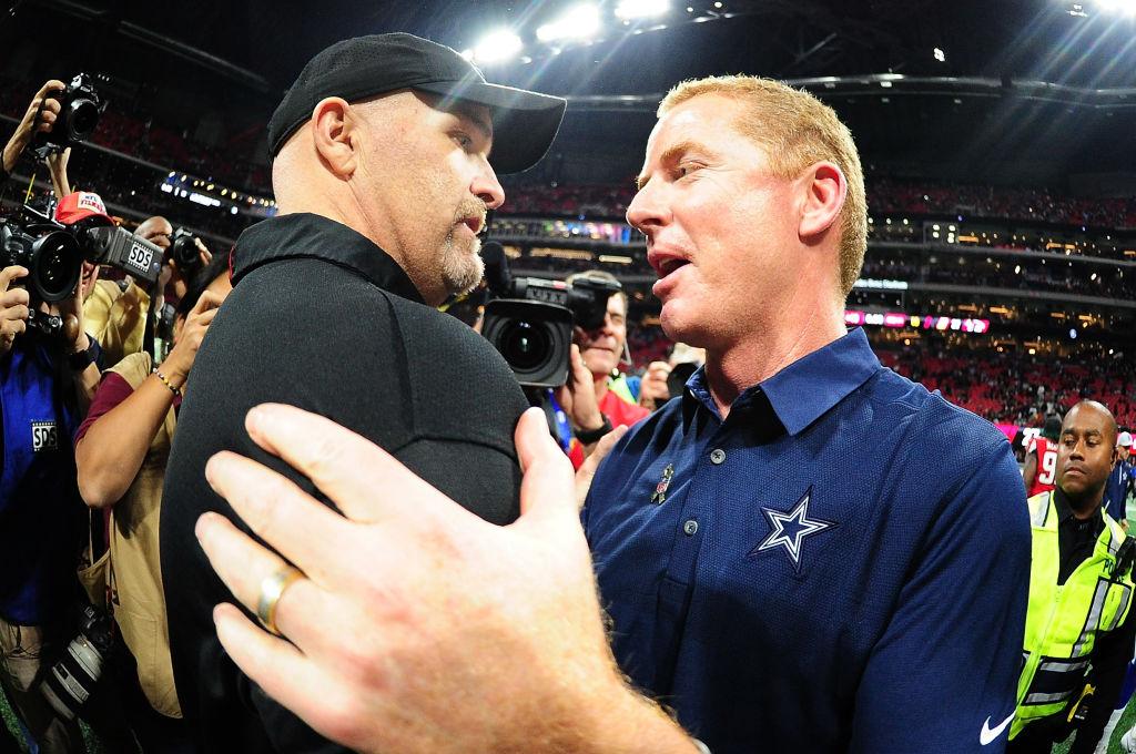 Head coach Dan Quinn of the Atlanta Falcons shakes hands with head coach Jason Garrett of the Dallas Cowboys