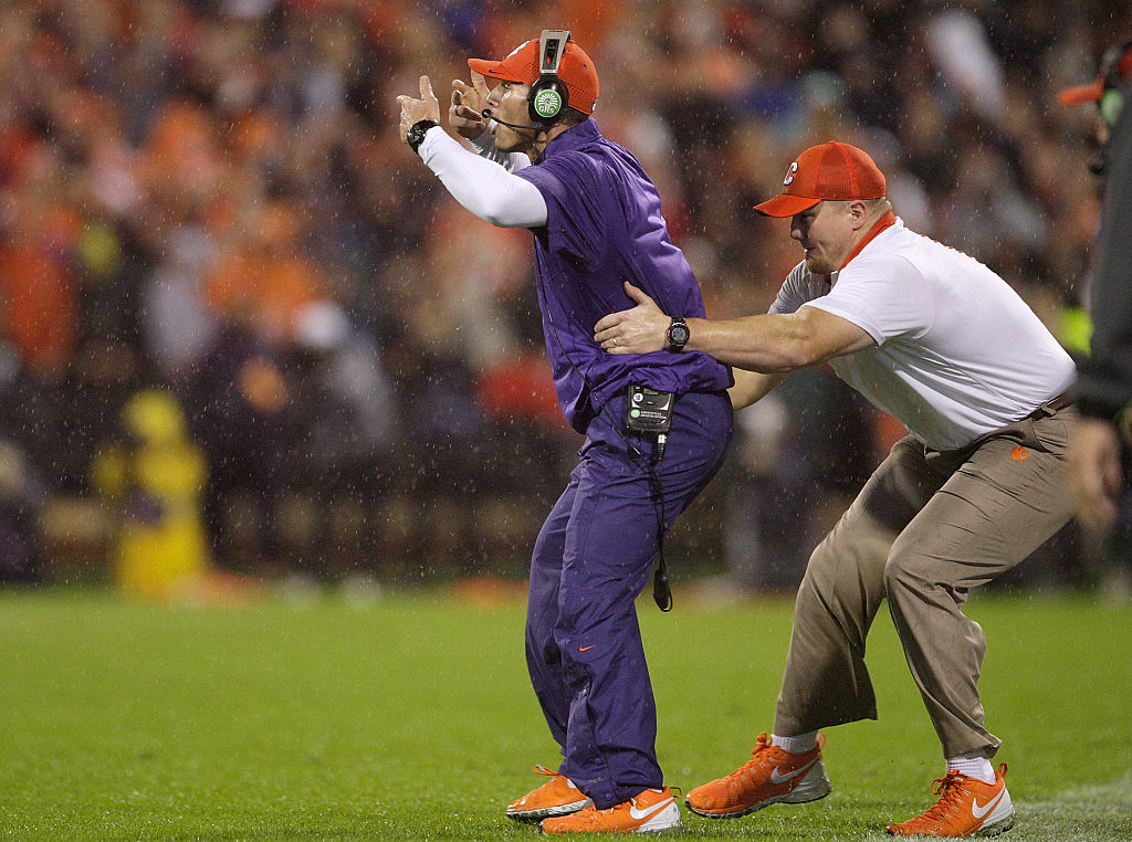 Defensive Coordinator Brent Venables of the Clemson Tigers reacts after a play