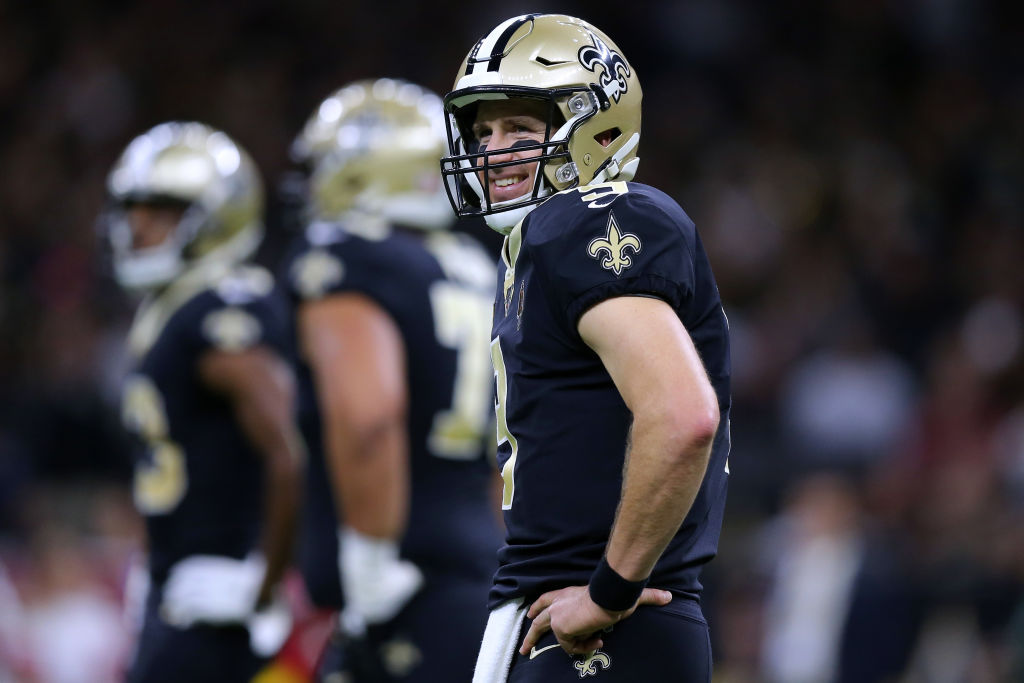 Drew Brees of the New Orleans Saints smiles during a game