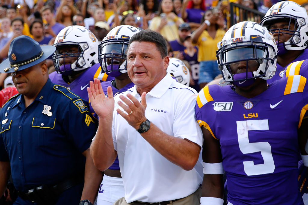 LSU head coach Ed Orgeron on the sidelines