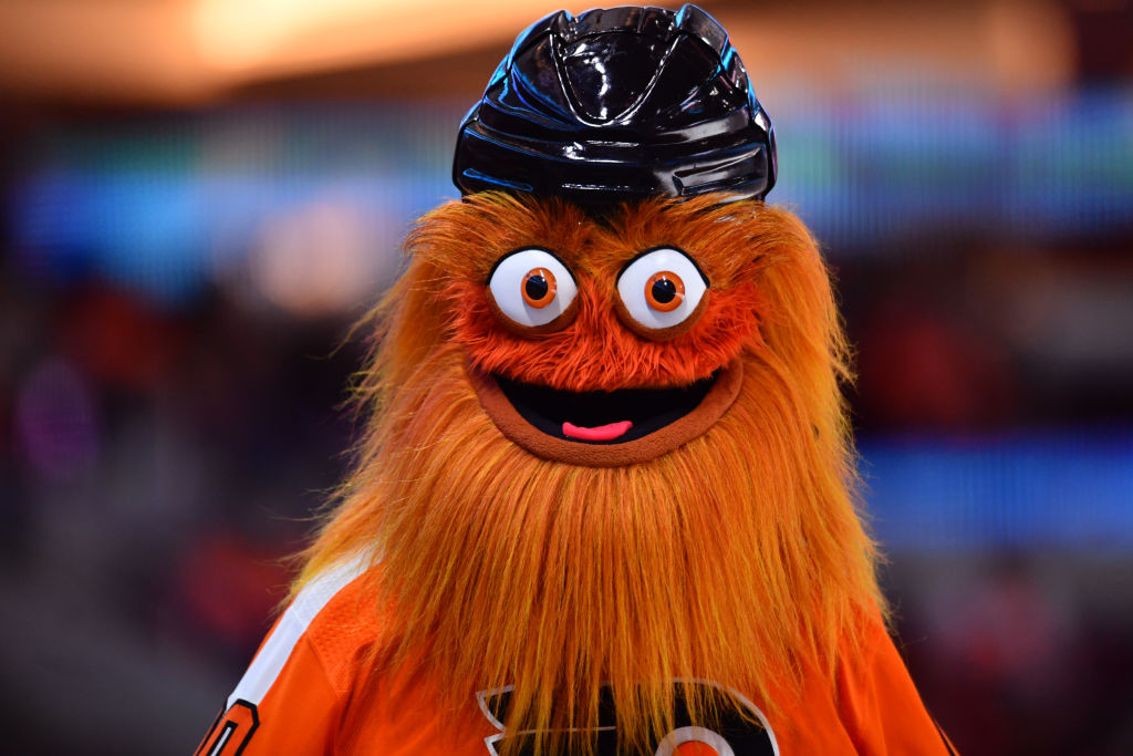 The Flyers' mascot Gritty smiles for the camera.