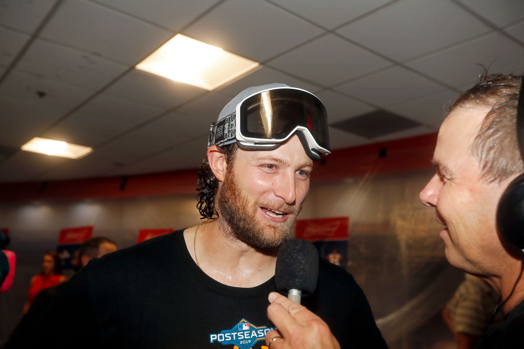 Gerrit Cole of the Houston Astros is interviewed in the locker room