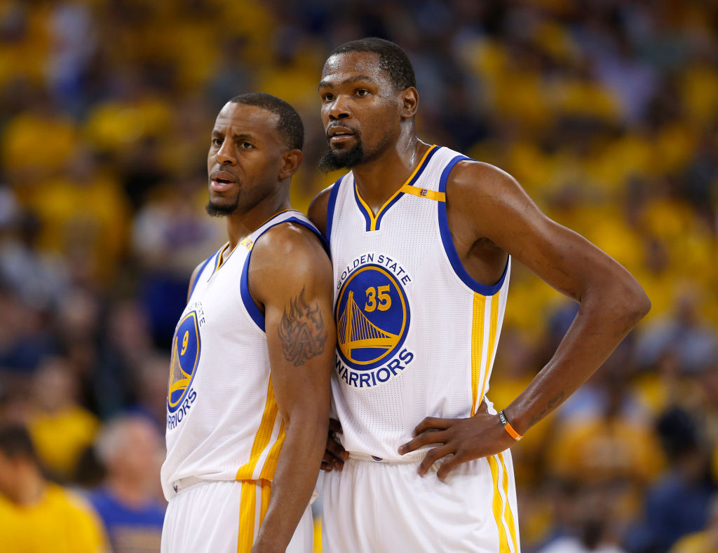 Golden State Warriors' Kevin Durant talks Andre Iguodala