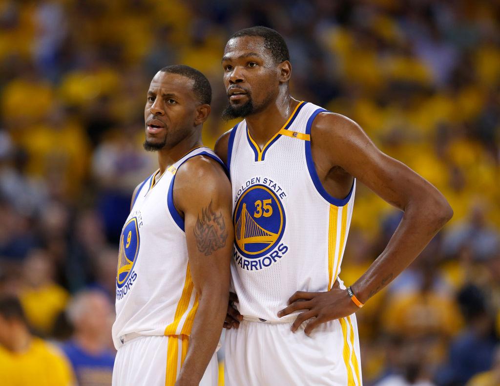 Golden State Warriors' Kevin Durant talks Andre Iguodala