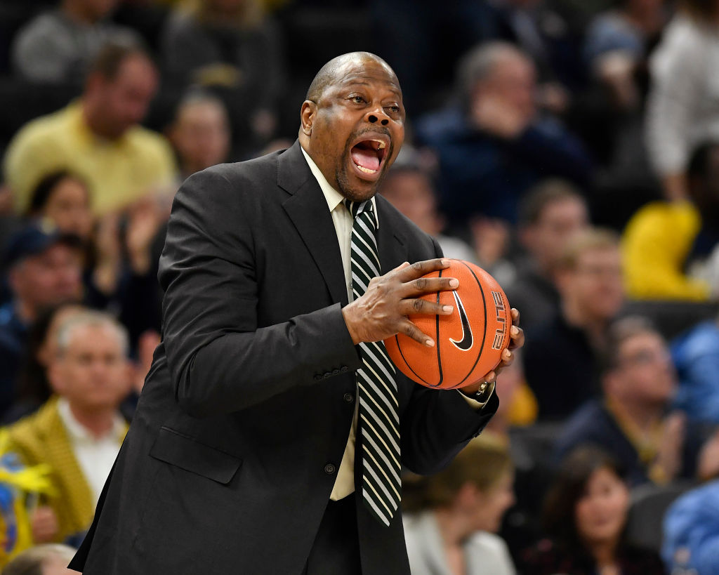 Head coach Patrick Ewing of the Georgetown Hoyas yells during a game