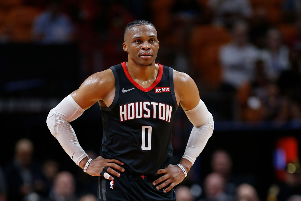 Houston Rockets' guard Russell Westbrook in a black uniform.