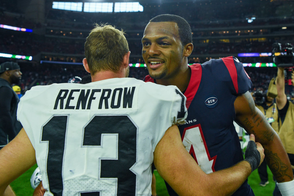 Oakland Raiders wide receiver Hunter Renfrow congratulates Houston Texans quarterback Deshaun Watson