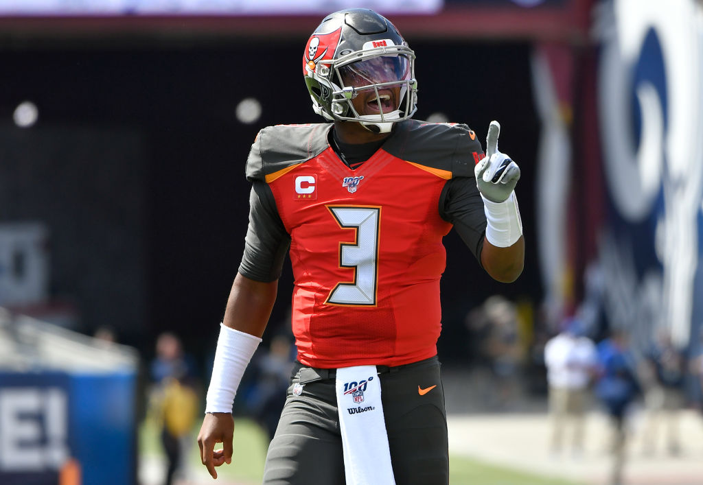 NFL quarterback Jameis Winston celebrating after a touchdown.