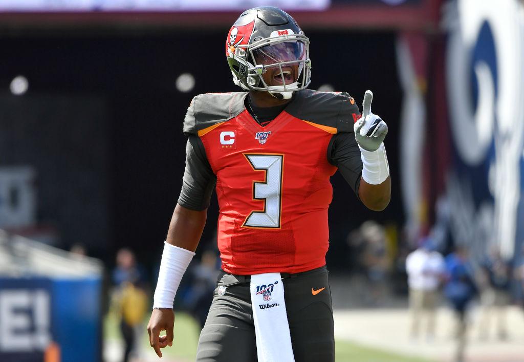 NFL quarterback Jameis Winston celebrating after a touchdown.