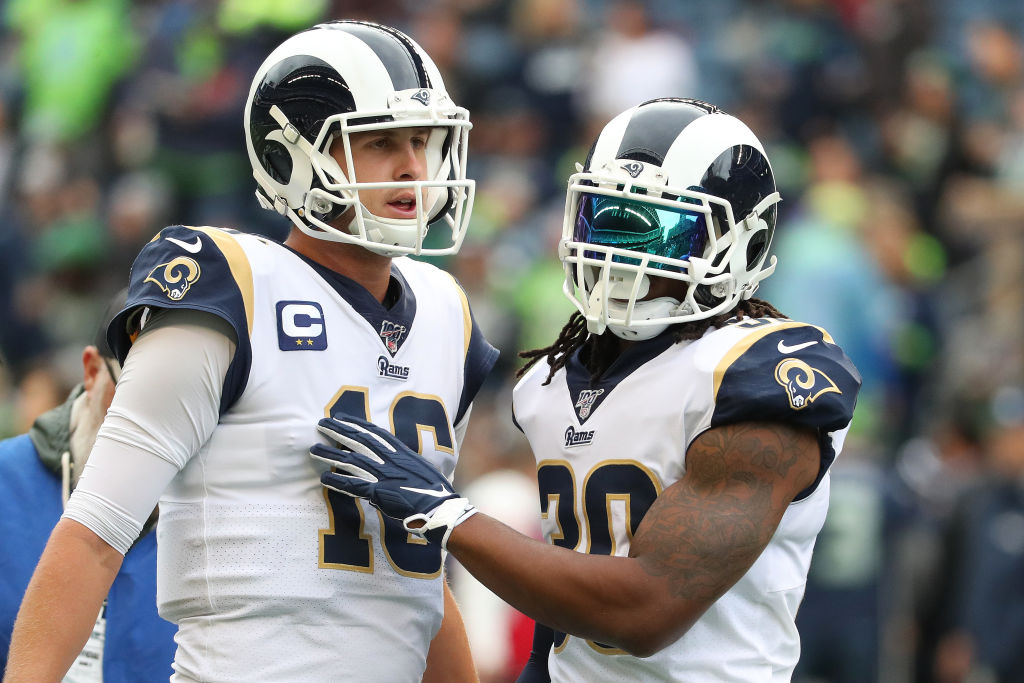 Los Angeles Rams running back Todd Gurley is out with a quad injury.