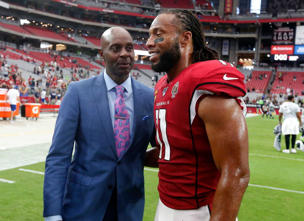 Hall of Famer Jerry Rice and Cardinals wide receiver Larry Fitzgerald