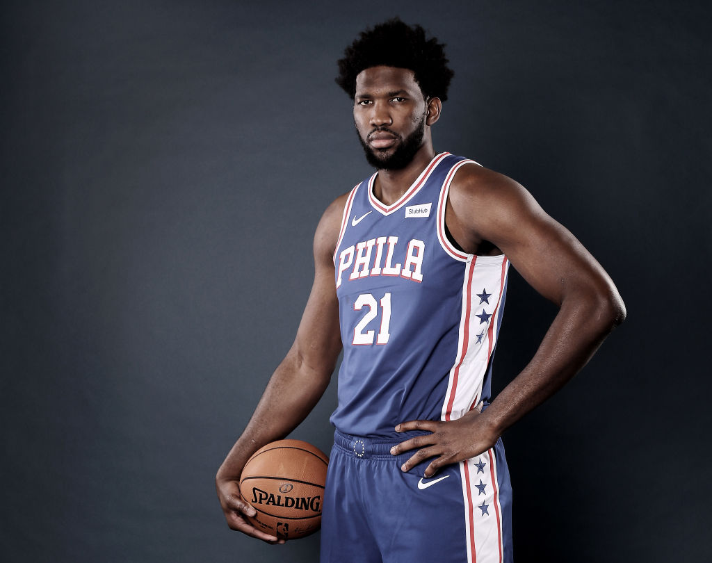 Joel Embiid at a 76ers team photoshoot