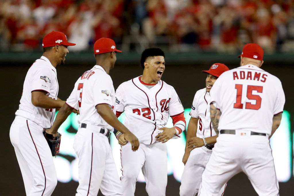 Juan Soto #22 of the Washington Nationals celebrates