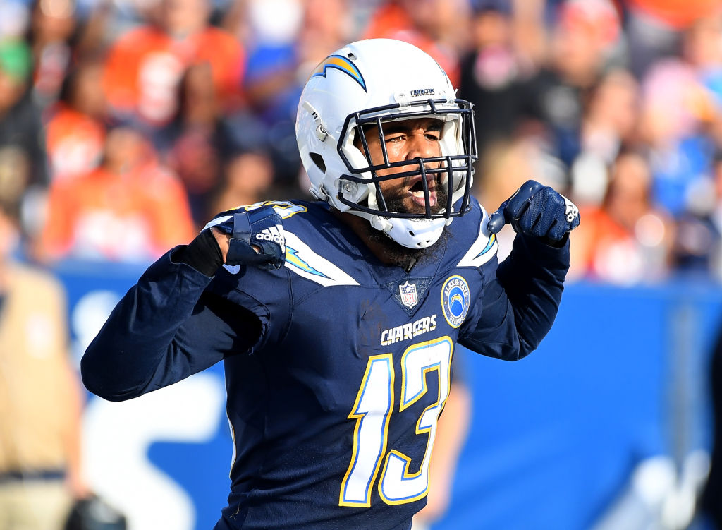 Keenan Allen of the Los Angeles Chargers celebrates after scoring a touchdown