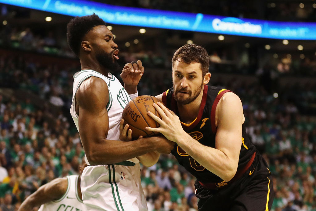 A Celtics-Cavaliers trade featuring Jaylen Brown (left) and Kevin Love makes a lot of sense for both sides.