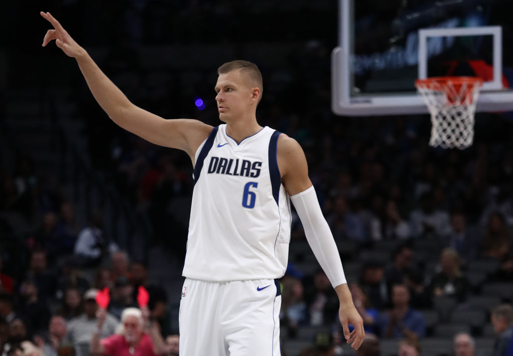 Kristaps Porzingis playing for the Dallas Mavericks.
