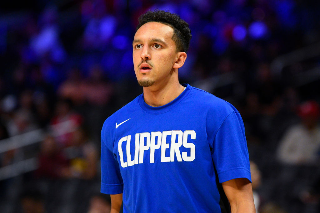Clippers' guard Landry Shamet warms up before a game.