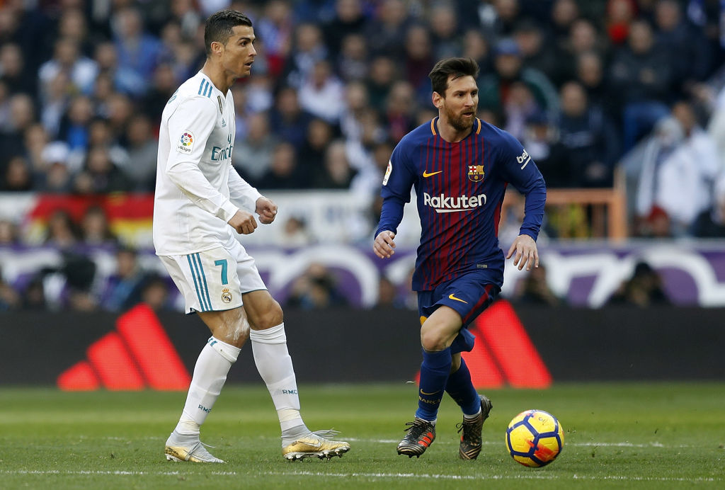FC Barcelona's Lionel Messi faces off against Cristiano Ronaldo, then of Real Madrid.