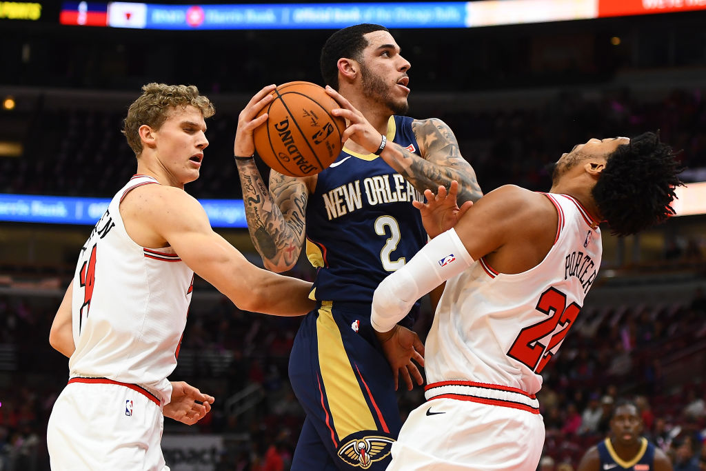 New Orleans newcomer Lonzo Ball (middle) loves the Pelicans' chances this NBA season.