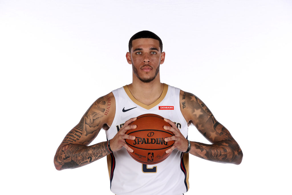 Pelicans' player Lonzo Ball at a team photo shoot