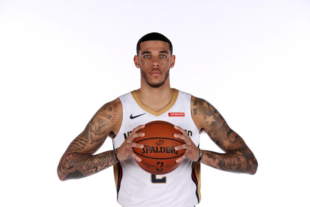 Pelicans' player Lonzo Ball at a team photo shoot