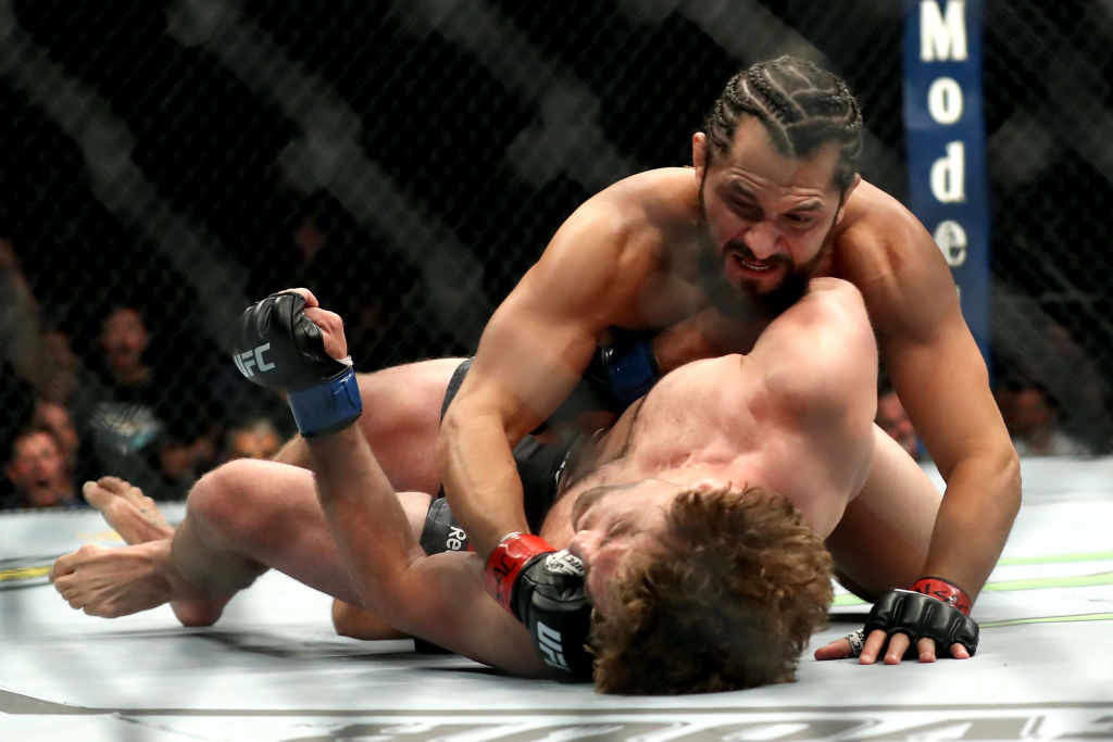 Jorge Masvidal (top) doesn't want to fight Conor McGregor in a UFC bout because he's afraid of what he might do to McGregor.