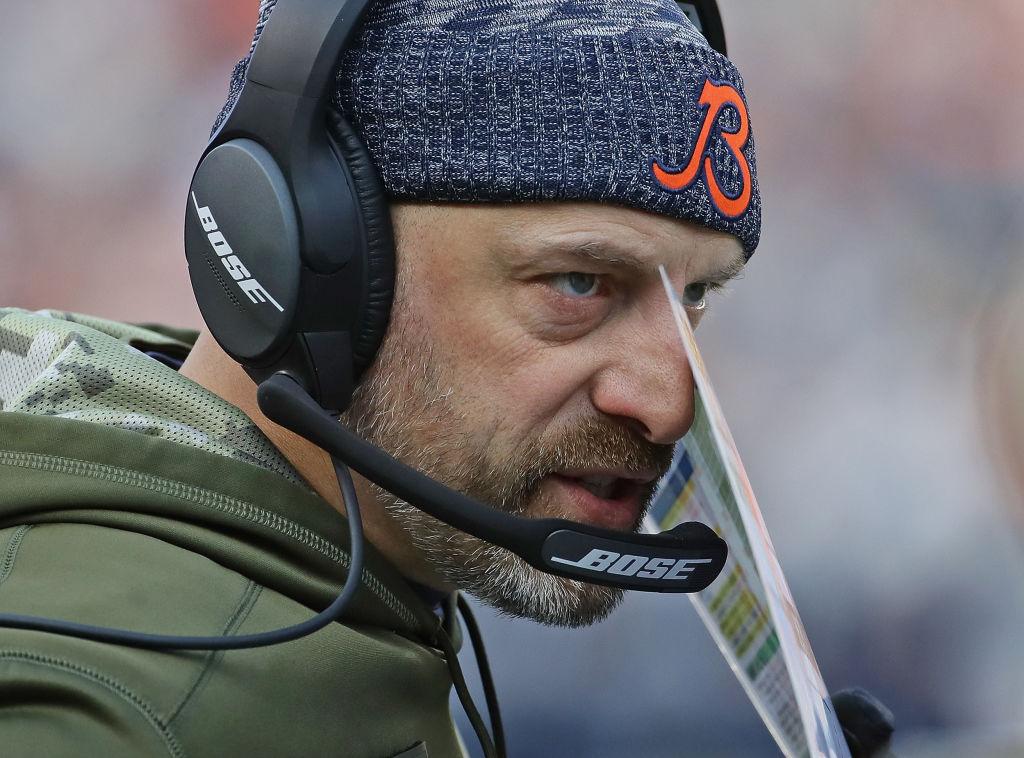 Chicago Bears' head coach Matt Nagy calling a play on the sideline.