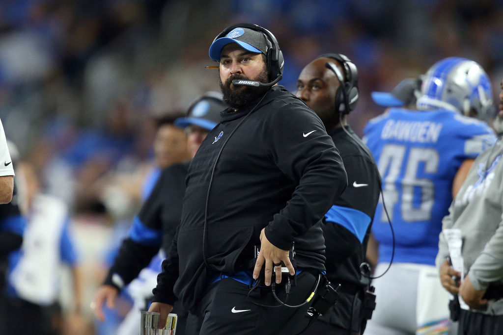 Detroit Lions head coach Matt Patricia looks on from the sideline