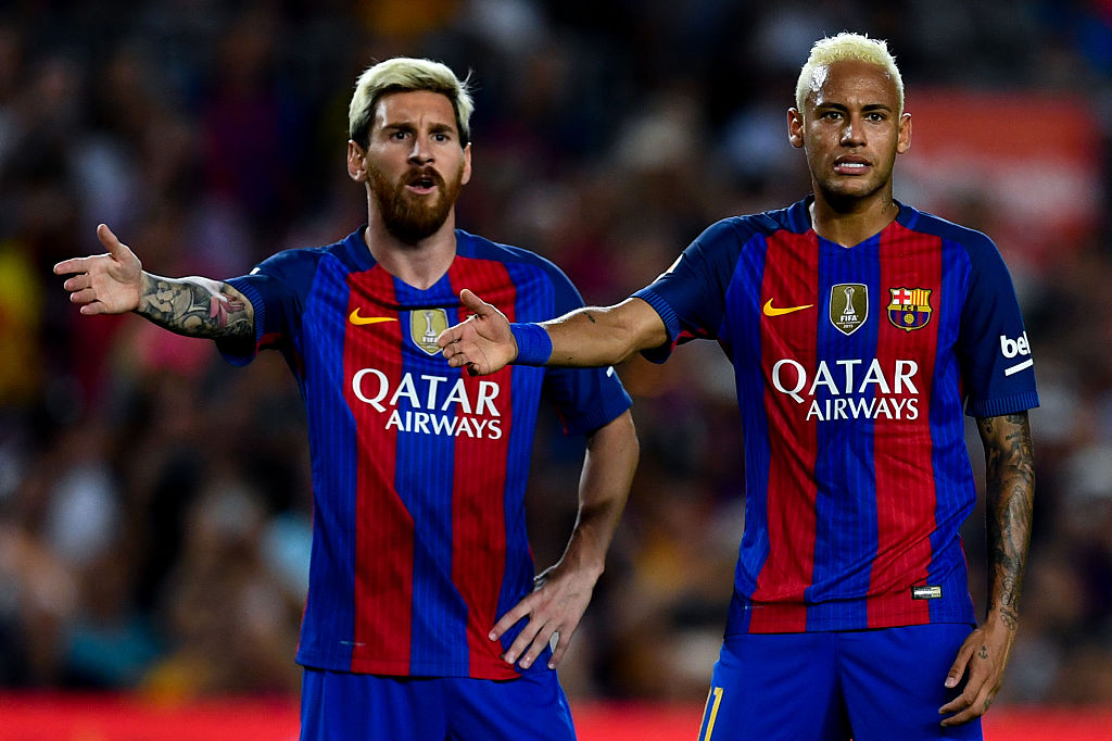 Lionel Messi and Neymar is Barcelona jerseys