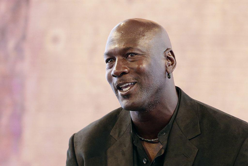 Michael Jordan speaking at a Nike event.