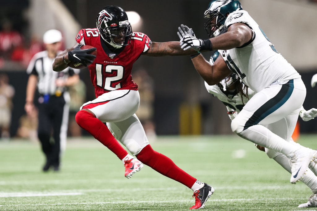 The New England Patriots traded for Atlanta Falcons receiver Mohamed Sanu on Tuesday.