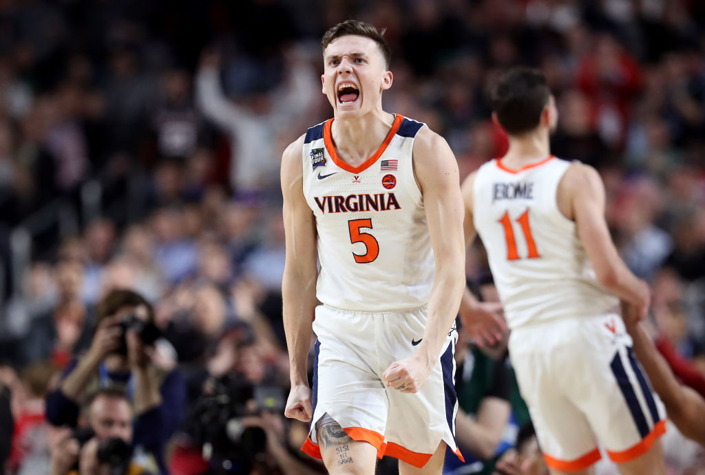 College basketball Champion Kyle Guy celebrating after a win.