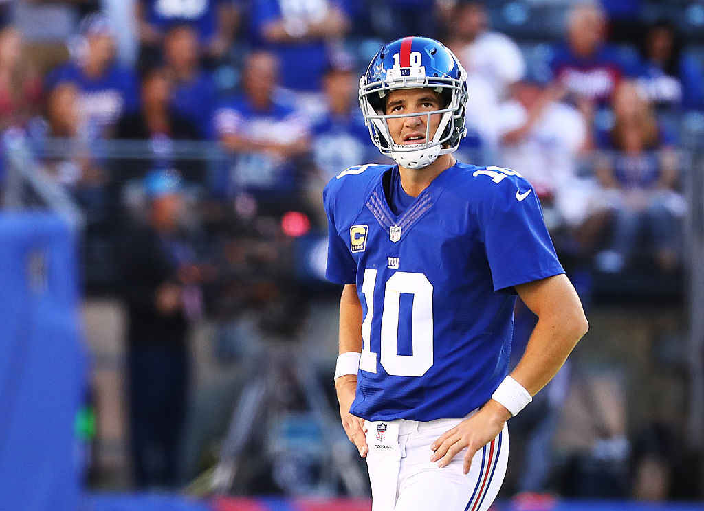 Giants quarterback Eli Manning is one of the NFL QBs with the most career interceptions.