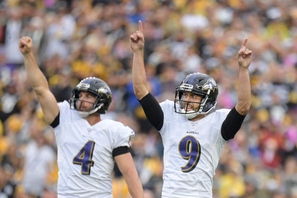 Justin Tucker (right) helped the Baltimore Ravens escape Pittsburgh with a win on Oct. 6, 2019.
