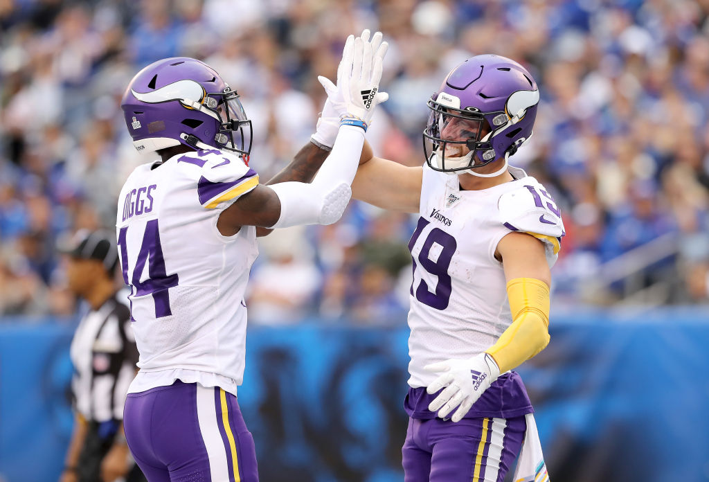 Adam Thielen caught both of Kirk Cousins' touchdown passes in a win over the Giants on Oct. 6, 2019.