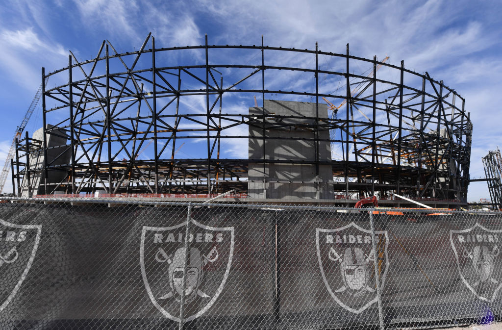 Construction continues on the site of the Raiders' $1.8 billion, glass-domed stadium in Las Vegas, Nevada