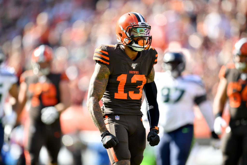 Odell Beckham (left) is frustrated by the Browns' offense, but quarterback Baker Mayfield isn't completely to blame.