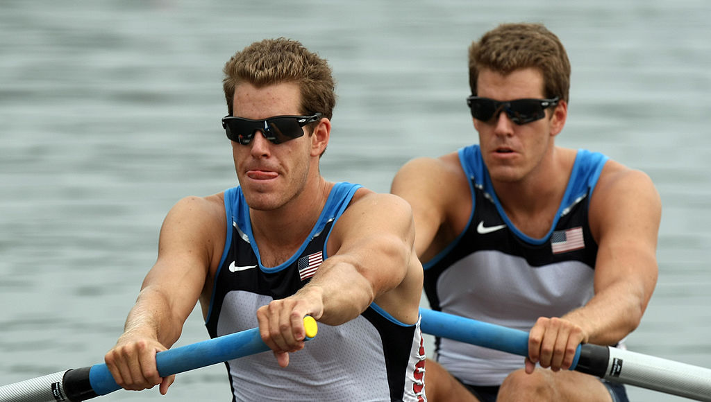 America's Tyler Winklevoss and Cameron Winklevoss at the start of the men's pair Rowing at the 2008 Beijing Olympic Games
