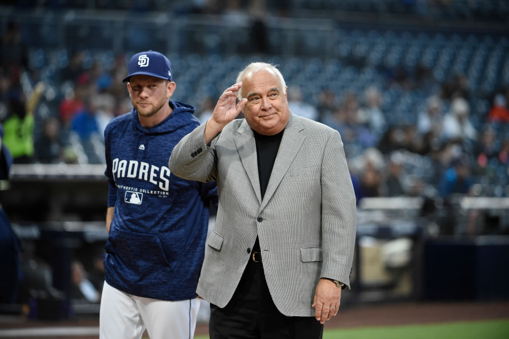 Padres owner Ron Fowler (right) sounded a bit delusional when discussing the 2019 season.