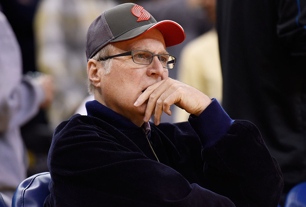 Paul Allen, owner of the Portland Trail Blazers, watches a game