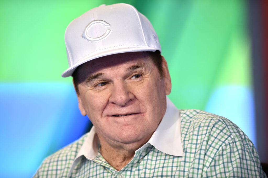 Famous criminal athlete Pete Rose being interviewed.