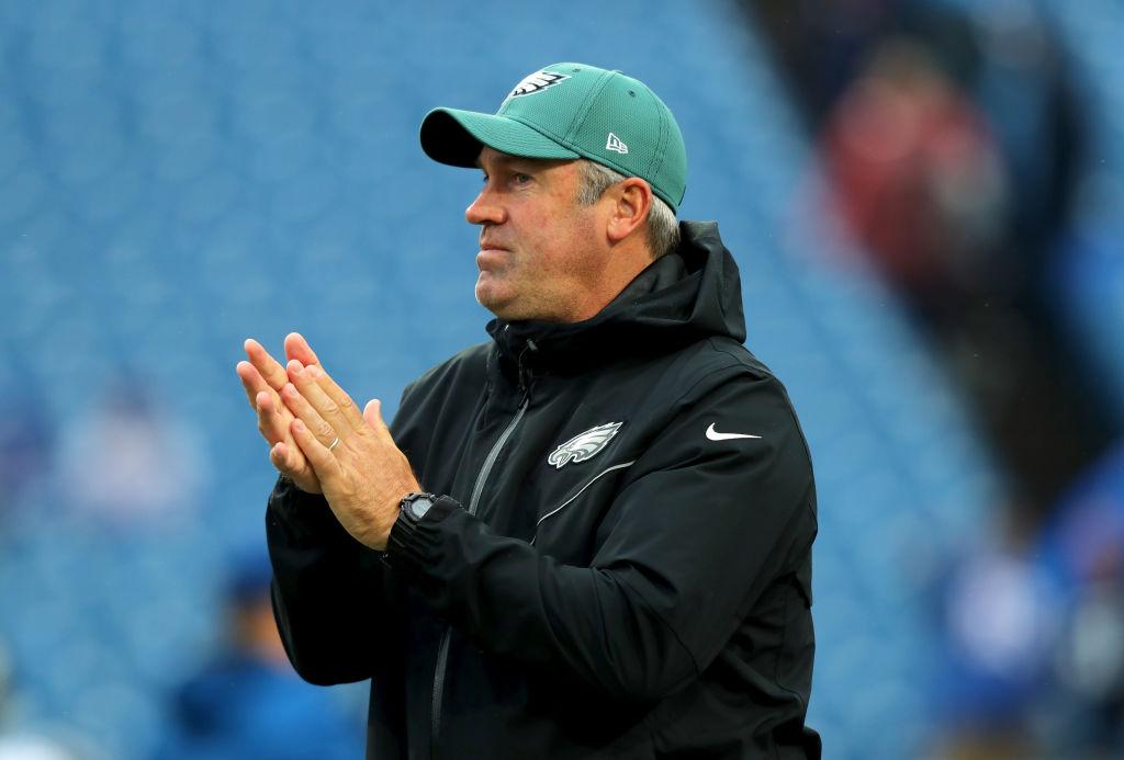 Philadelphia Eagles head coach Doug Peterson on the field before a game.