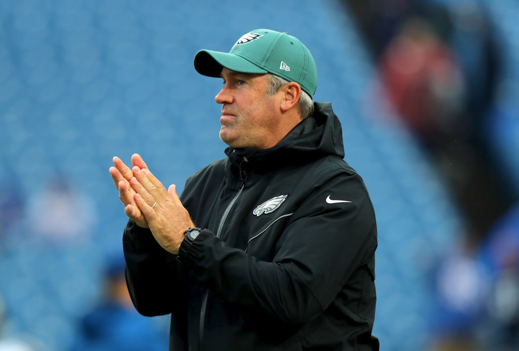 Philadelphia Eagles head coach Doug Peterson on the field before a game.