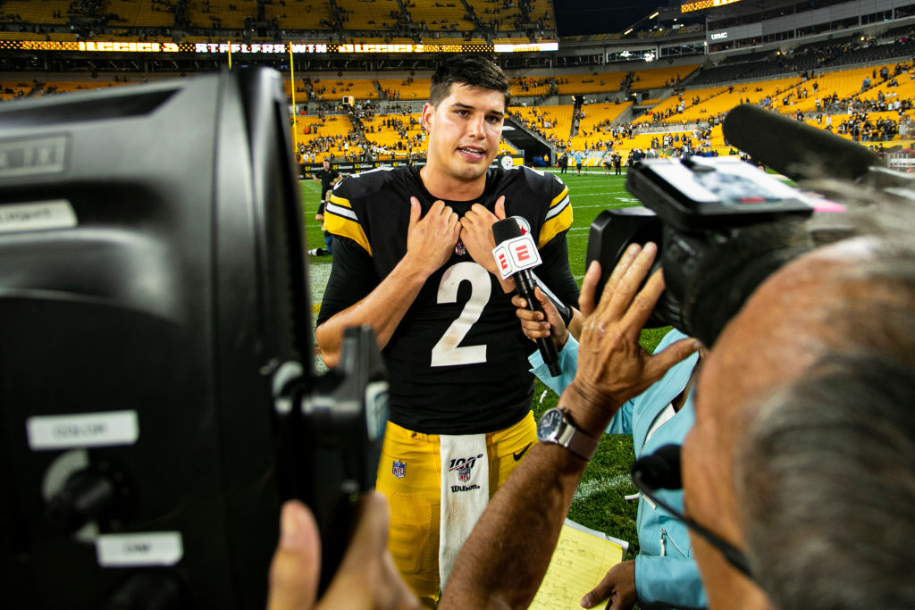 Pittsburgh Steelers Quarterback Mason Rudolph is interviewed post-game