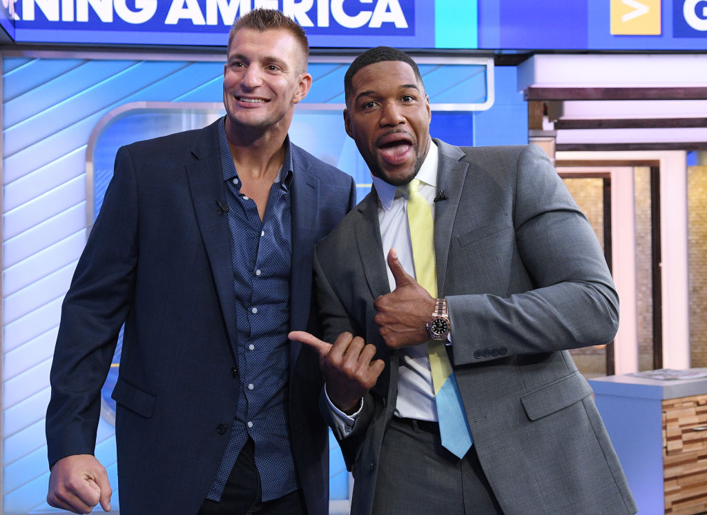 Rob Gronkowski on the set of 'Good Morning America' with Michael Stahan