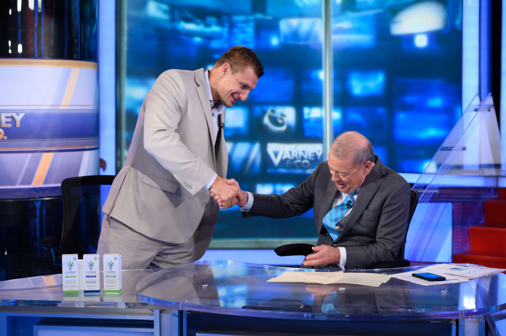 Former NFL player Rob Gronkowski visits talks with Fox host Stuart Varney