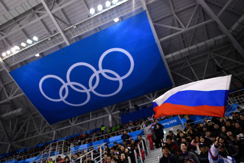 A Russian flag waving at the Olympics