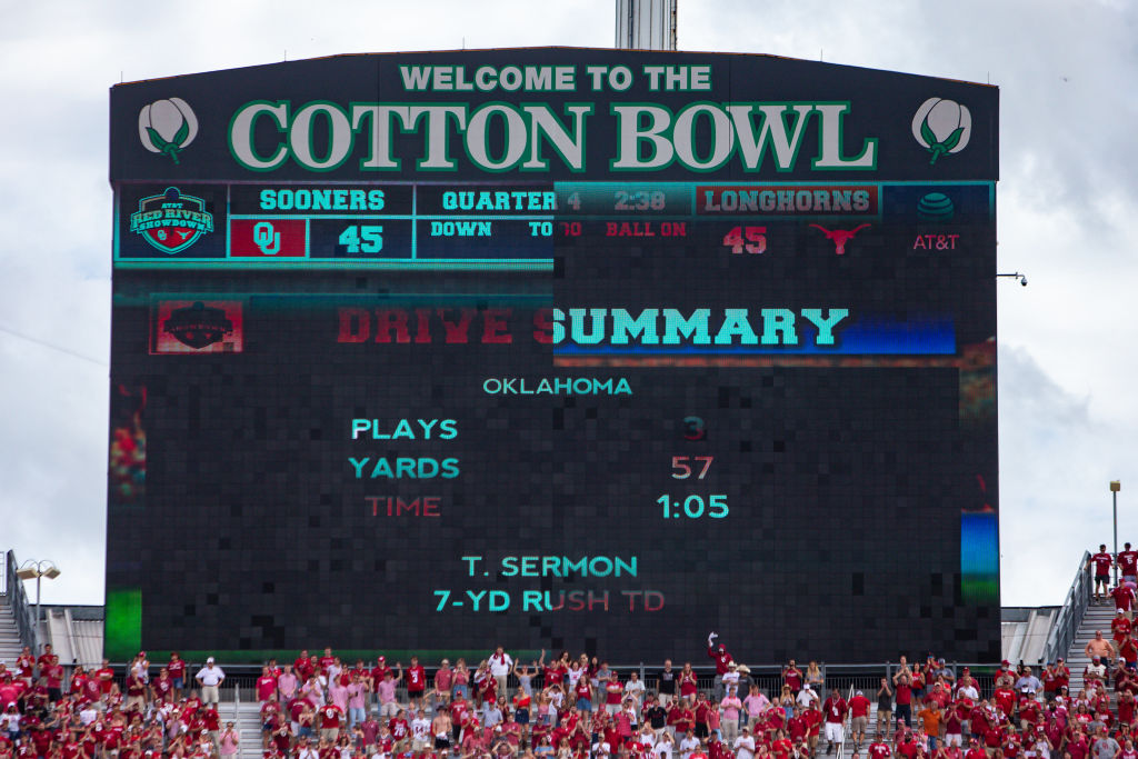 Scoreboard during the Big 12 Conference Red River Rivalry Game